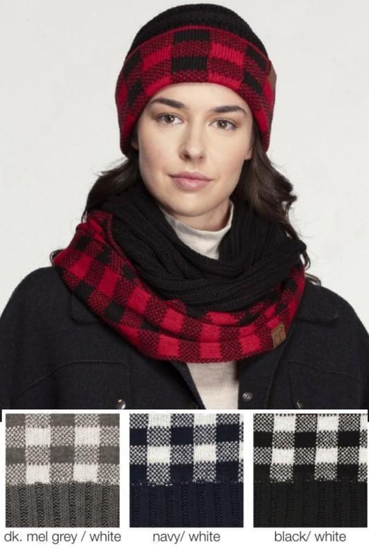 CC Buffalo Check Knit Scarf - - - Accessories, Scarves - Snips and Snails Boutique