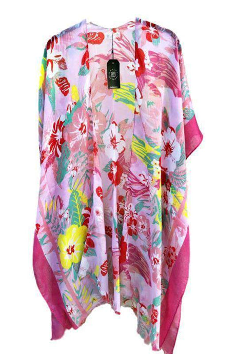 Tropical Tones Floral Lightweight Sheer Kimono -One Size / Fuchsia -One Size - Cardigans - Snips and Snails Boutique