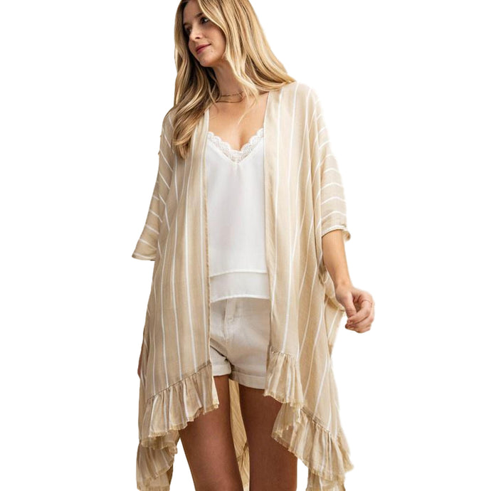 Bottom Raw Edge Ruffled Poncho Kimono Cardigan Cardigans Cultured Cloths Taupe Small