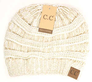 CC Beanie Metallic Skullcap Hats -Ivory Gold Met -Ivory Gold Met - Accessories, Hats - Snips and Snails Boutique