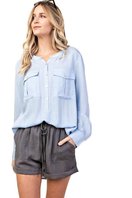 Banded Collarless Neck Slub Button Front Shirt - - - Women's Long Sleeve - Snips and Snails Boutique