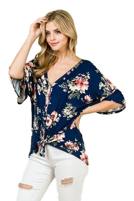 Navy Floral Button Down Self Tie Top -Medium / Navy Floral -Medium - Women's Short Sleeve - Snips and Snails Boutique