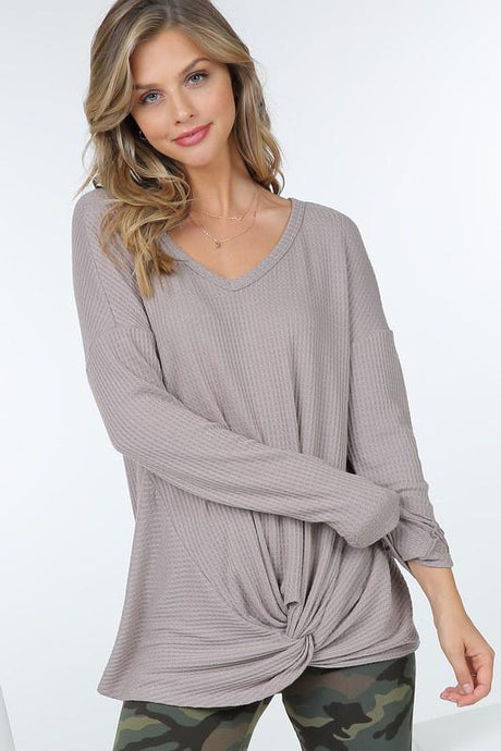 Waffle Knit Long Sleeve Tunic Top Front Knot Detail - - - Women's Long Sleeve - Snips and Snails Boutique