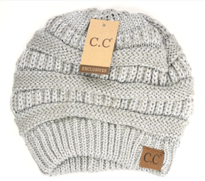 CC Beanie Metallic Skullcap Hats -Metallic Silver -Metallic Silver - Accessories, Hats - Snips and Snails Boutique