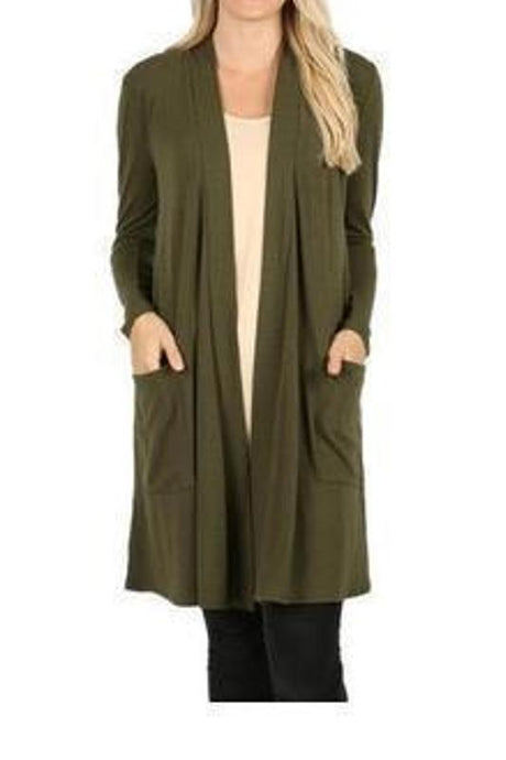 Dark Olive Slouchy Pocket Open Cardigan - - - Cardigans - Snips and Snails Boutique