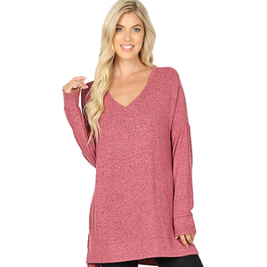 Brushed Melange Sweater V-Neck Hi Low Hem Tunic -Rose / Small -Rose - Women's Long Sleeve - Snips and Snails Boutique