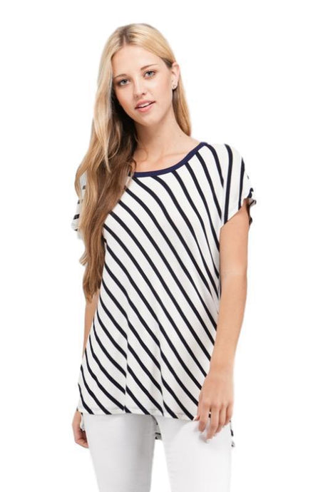 Coral Striped Dolman Top - - - Women's Short Sleeve - Snips and Snails Boutique