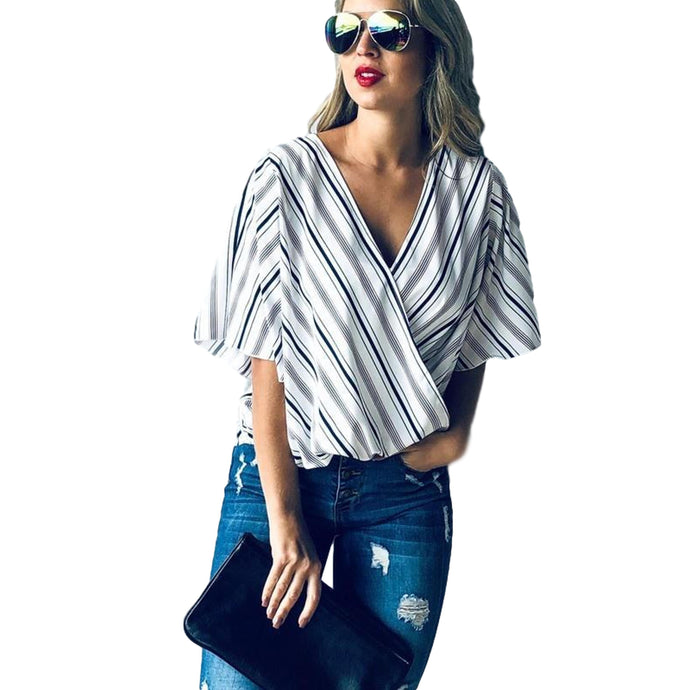 Black & Burgundy Stripe Slit Sleeve Cross Front Casual Top - - - Women's Short Sleeve - Snips and Snails Boutique
