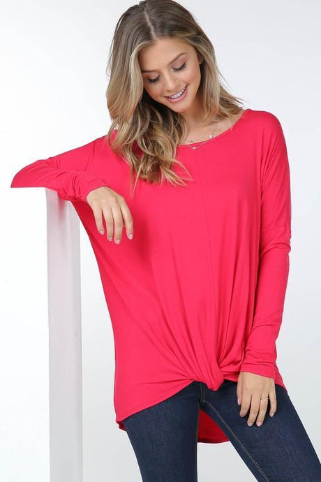 Long Sleeve Front Gathered Knot Top Women's Long Sleeve Not specified