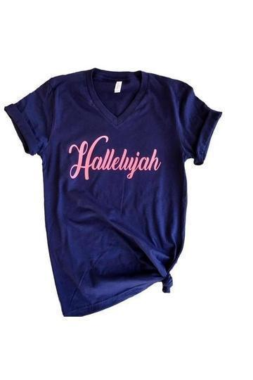 Hallelujah Graphic Tshirt -Medium / Navy -Medium - Graphic T-Shirts - Snips and Snails Boutique