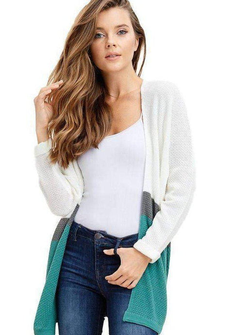 Jade Colorblock Open Front Long Dolman Sleeve Cardigan
