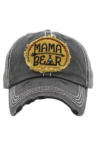 Mama Bear Embroidered Baseball Hat -One Size / Vintage Black -One Size - Accessories, Hats - Snips and Snails Boutique