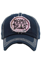 Load image into Gallery viewer, Mama Bear Embroidered Baseball Hat -One Size / Navy -One Size - Accessories, Hats - Snips and Snails Boutique