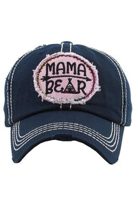 Mama Bear Embroidered Baseball Hat -One Size / Navy -One Size - Accessories, Hats - Snips and Snails Boutique