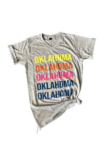 Oklahoma Oklahoma Colorful V-Neck T-shirt - - - Graphic T-Shirts - Snips and Snails Boutique