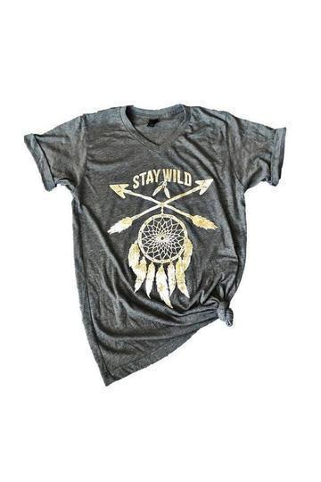 Stay Wild Dreamcatcher T-Shirt -Small / Grey -Small - Graphic T-Shirts - Snips and Snails Boutique