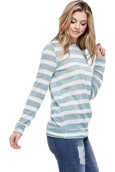 Striped Long Sleeve Knit Lightweight Sweater Top - - - Women's Long Sleeve - Snips and Snails Boutique