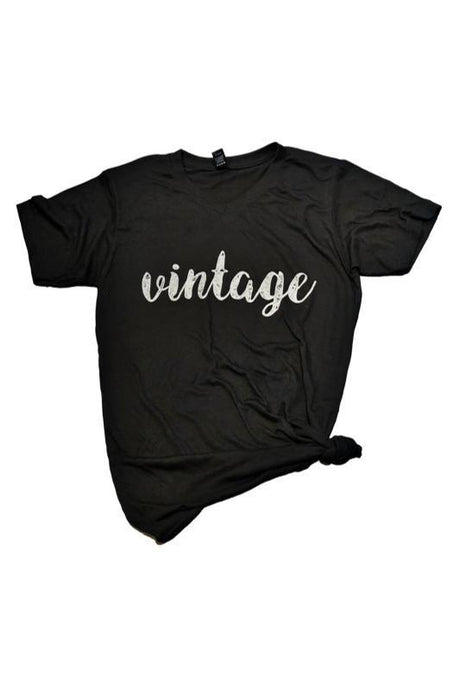 Black Vintage V-Neck Graphic T-Shirt - - - Graphic T-Shirts - Snips and Snails Boutique