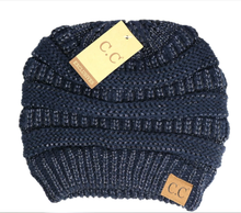 Load image into Gallery viewer, CC Beanie Metallic Skullcap Hats -Navy Metallic -Navy Metallic - Accessories, Hats - Snips and Snails Boutique
