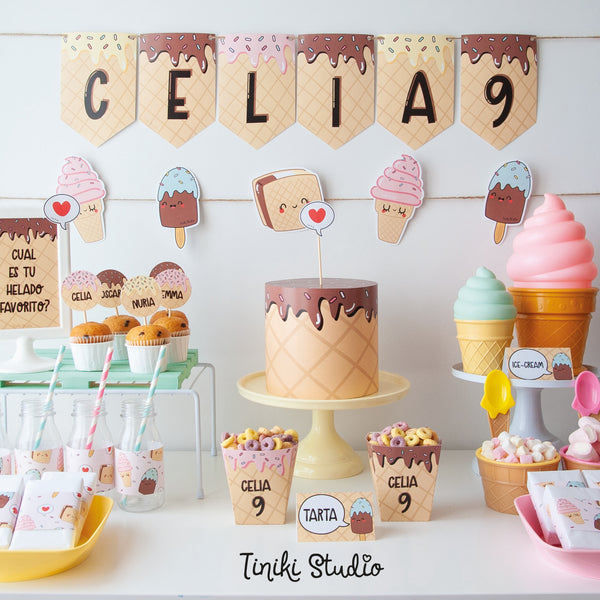 ice cream party, fiesta helados, kit imprimible