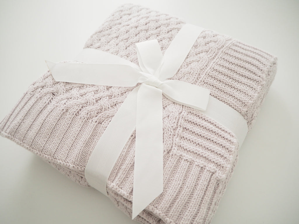 Diamond Knit Blanket (Warm Grey)