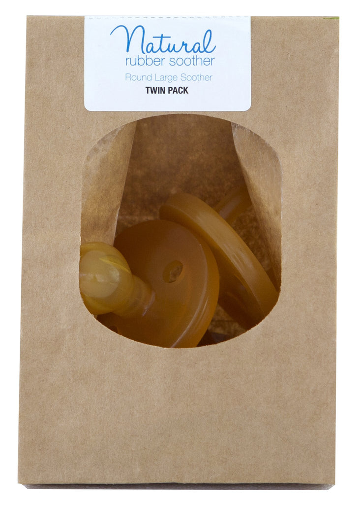 Natural Rubber Soother Round - Eco Packaging Twin Pack