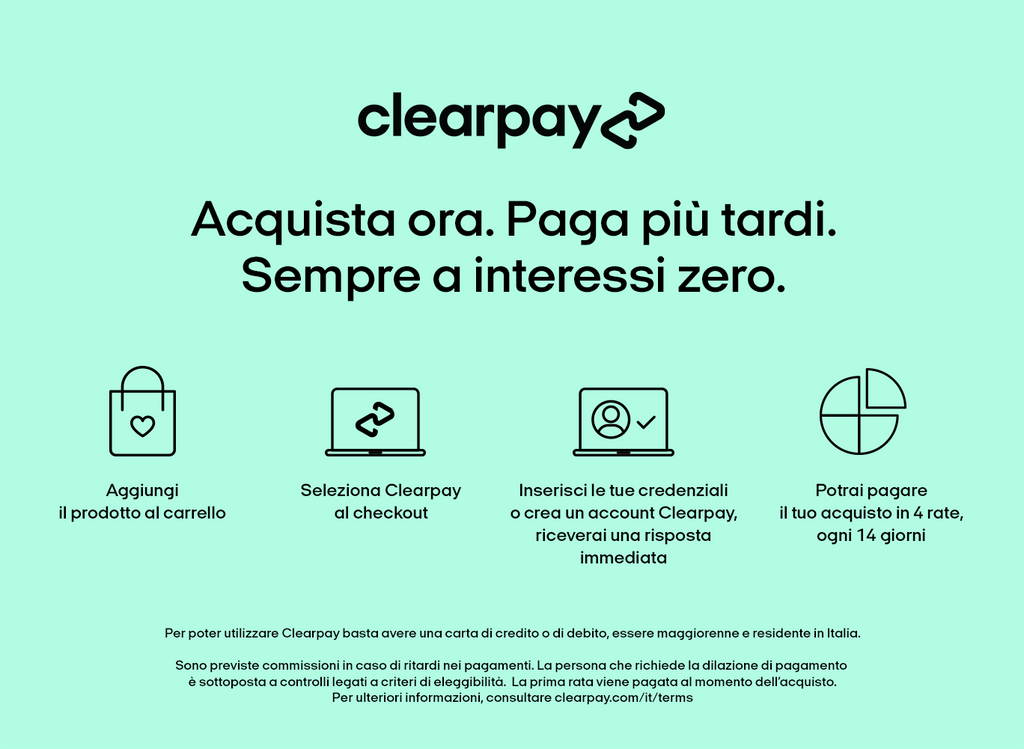 CLEARPAY PAGA IN 4 RATE SENZA INTERESSI