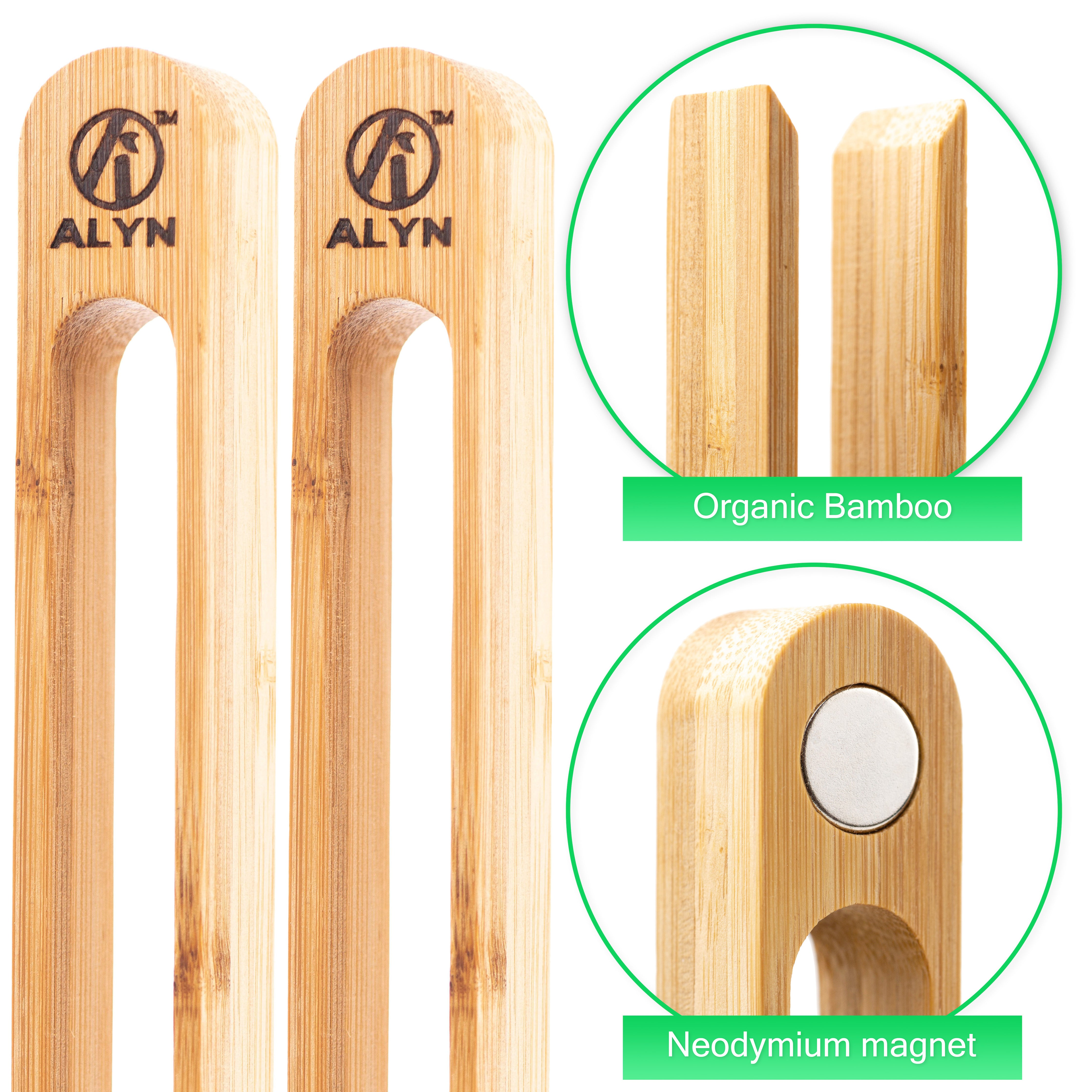 Bamboo Magnetic Toast Tongs - ecoalyn