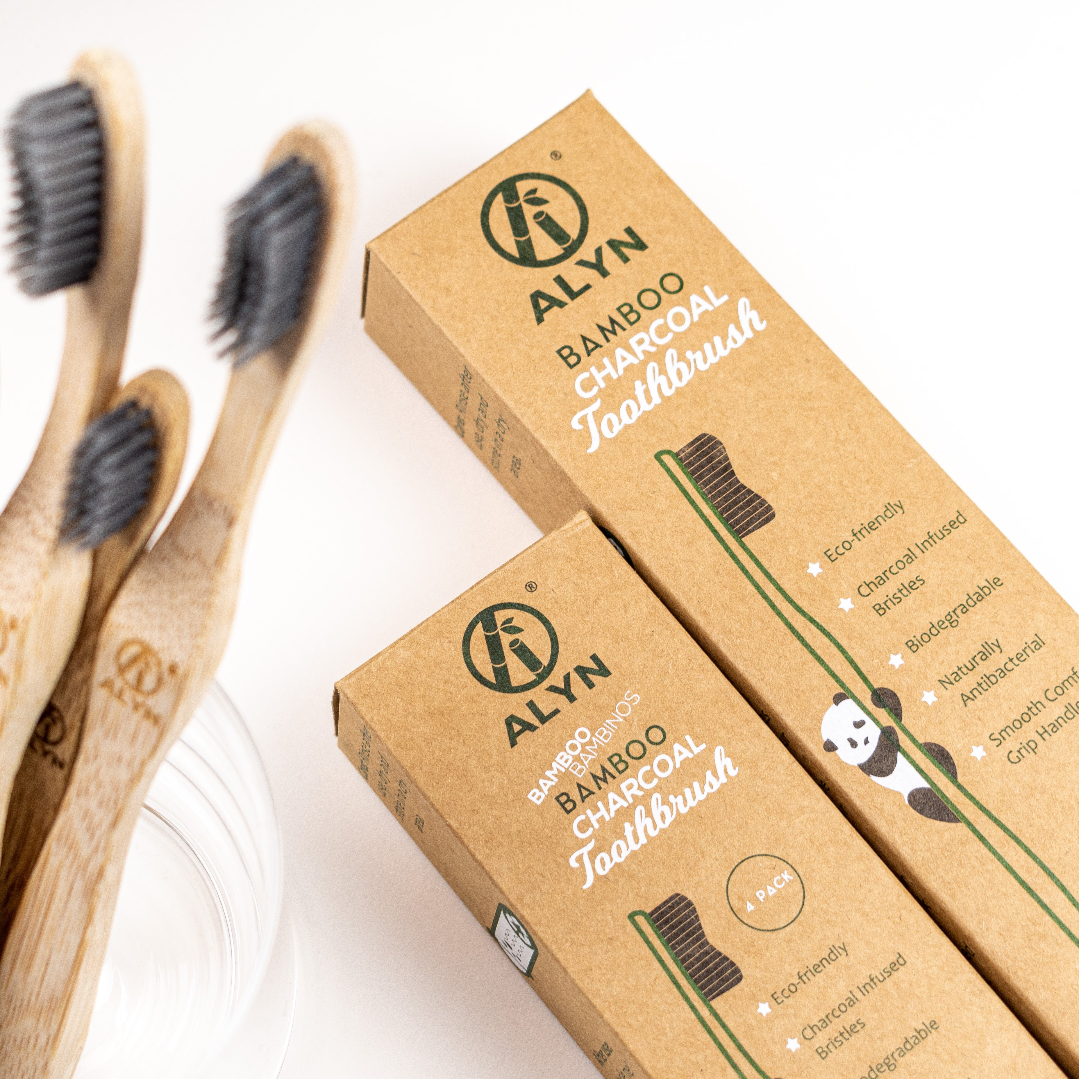 Children's Bamboo Charcoal Toothbrush 4 Pack - ecoalyn