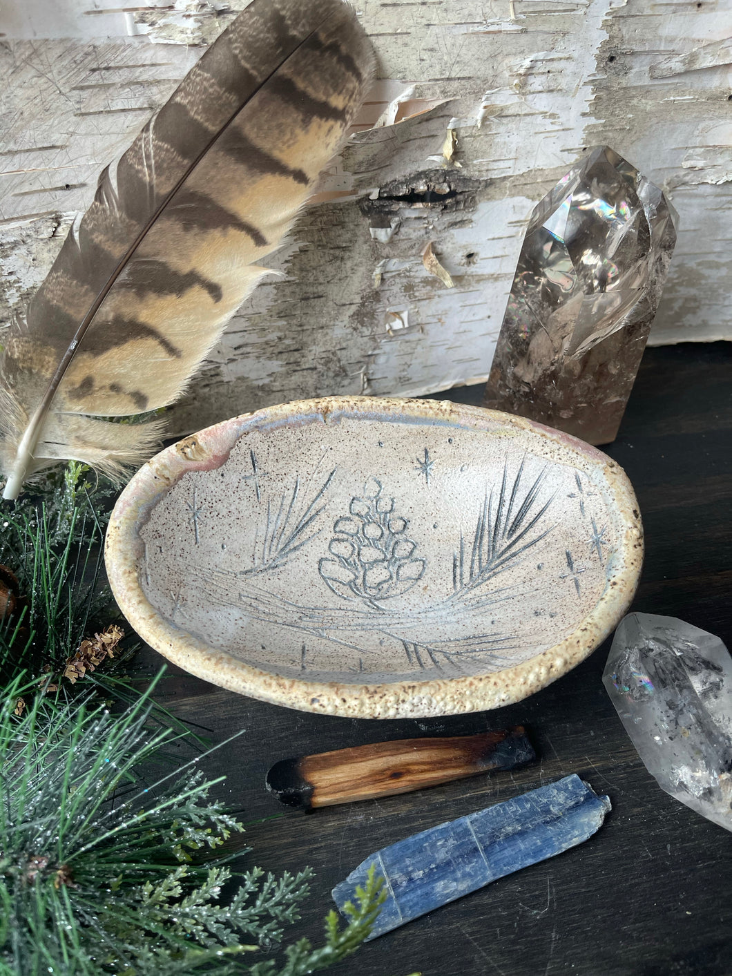 Pine Cone and Starry Night Smudge dish