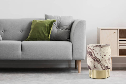 Glamour-Pouf Hocker Ricky 337 Bronze / Gold Ambiente