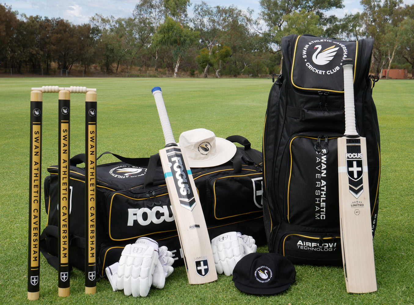 Focus Mi-Club - custom designed cricket kit, bags, helmets, stumps and more.