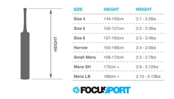 Focus Cricket bat size guide