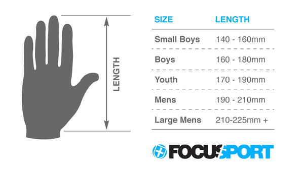 Focus Cricket glove size guide