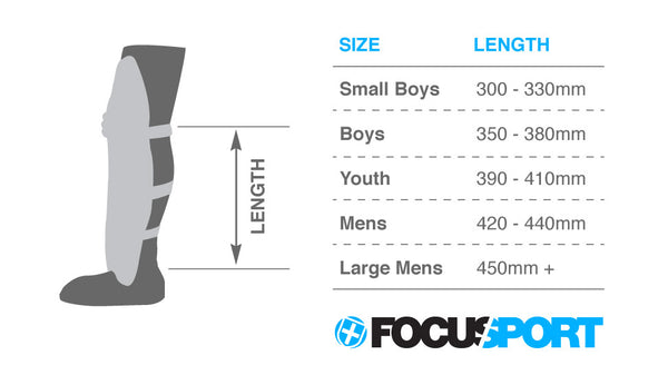 Focus Cricket pad size guide