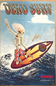 Dead Surf Grateful Skeleton Surfing Poster 22 X 34