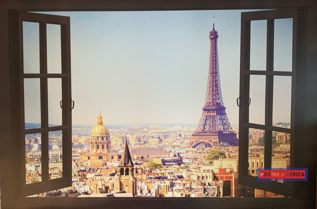 Eiffel Tower Window View Poster 24 X 36