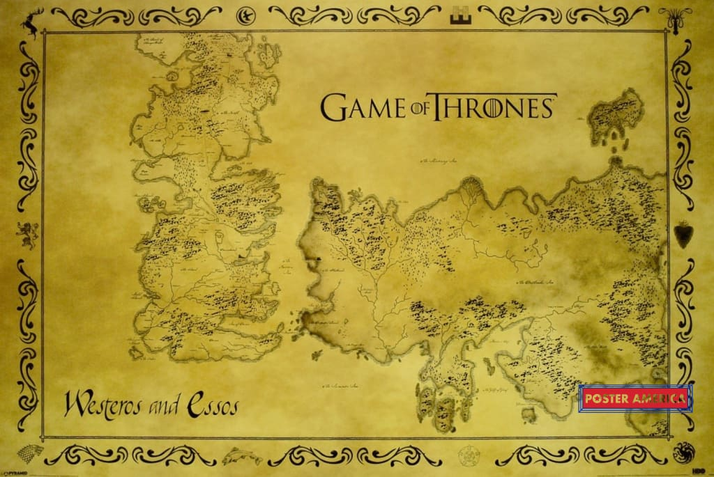Game Of Thrones Westeros And Essos Map Poster 24 X 36