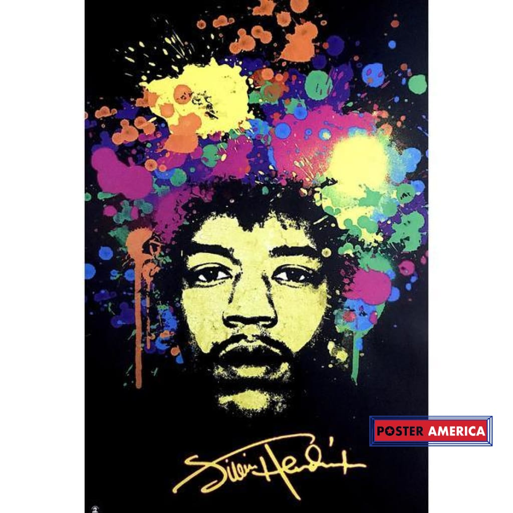Jimi Hendrix Paint Splatter Extremely Rare Poster 24 X 36