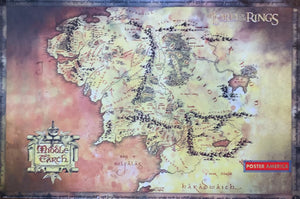 Lord Of The Rings Map Of Middle Earth Poster 24 X 36