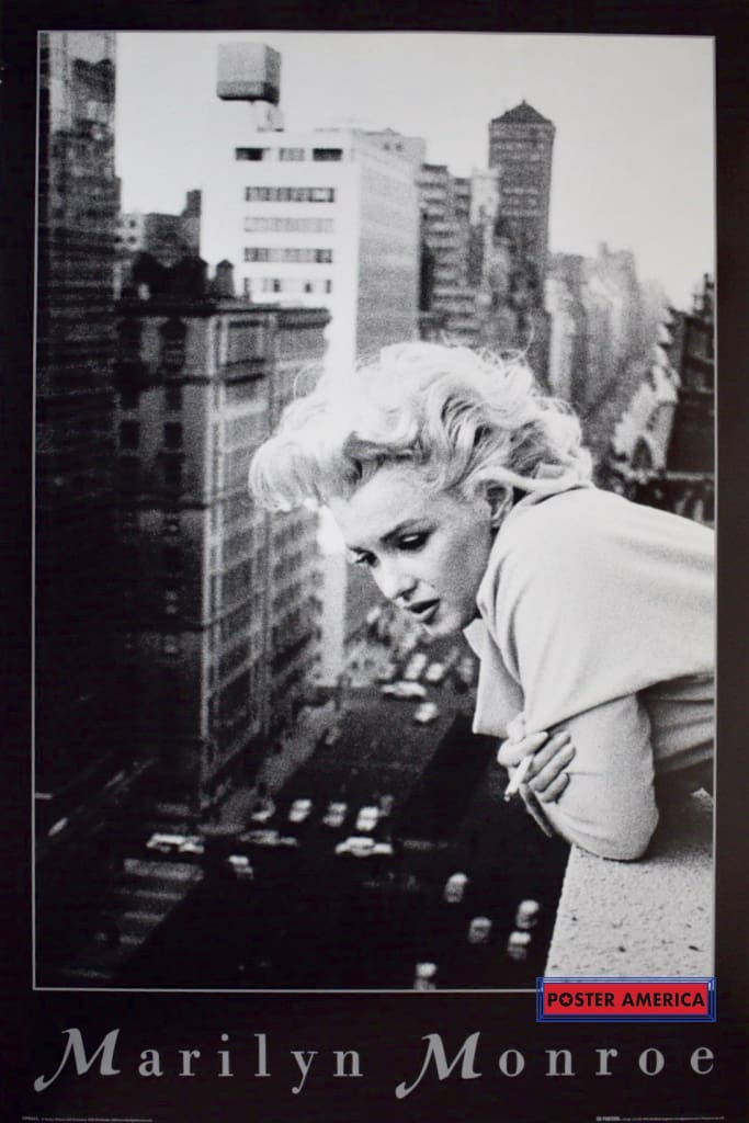 Marilyn Monroe Rare Leaning On A Balcony Smoking Poster 24 X 36 Vintage Poster