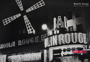 Moulin Rouge Paris France 1980 At Night Poster 24 X 35