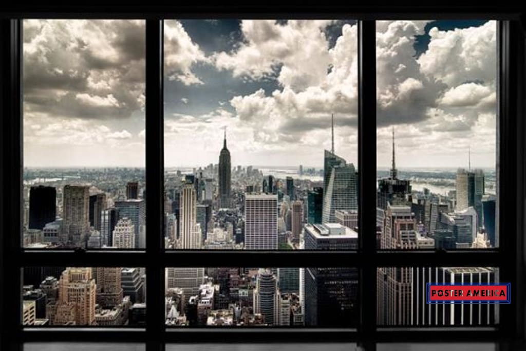 New York City Window View Poster 24 X 36