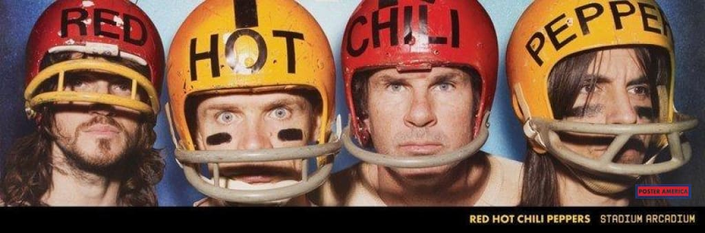 Red Hot Chili Peppers Football Helmets Poster 12 X 36