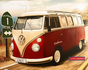 Red Volkswagen 21 Window Bus Highway 1 Poster 16 X 20