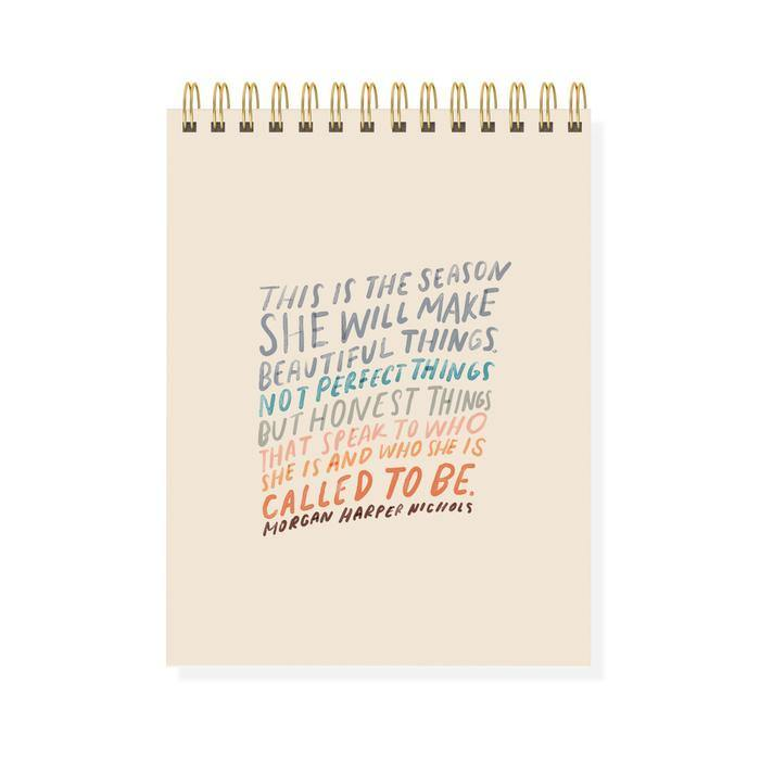 Large Spiral Quote Sketchbook - Wheat Boutique