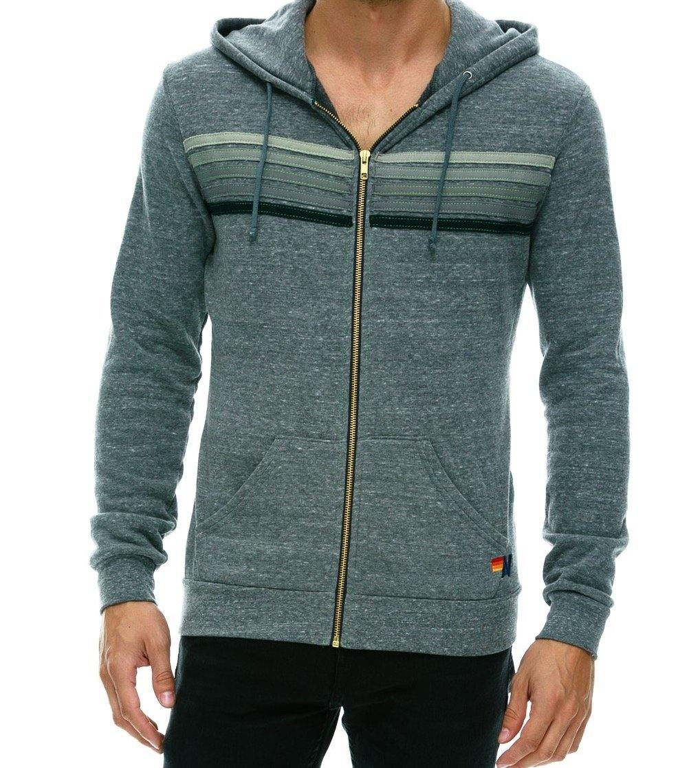 5 Stripe Zip Hoodie - Heather Grey - Wheat Boutique
