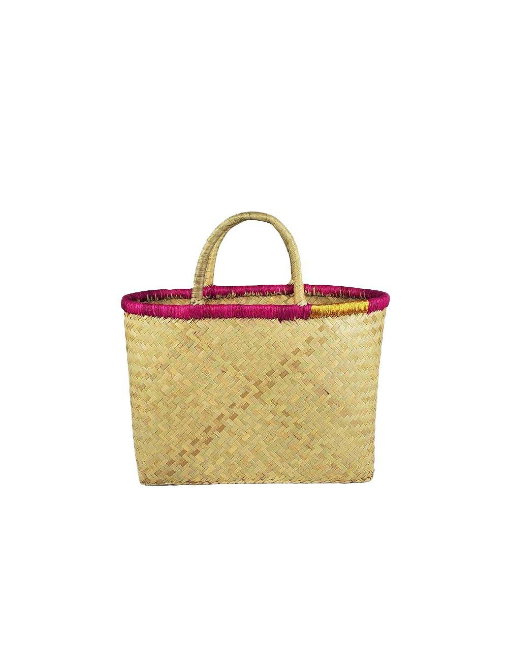 Wrap Tote- Natural/Pink - Wheat Boutique