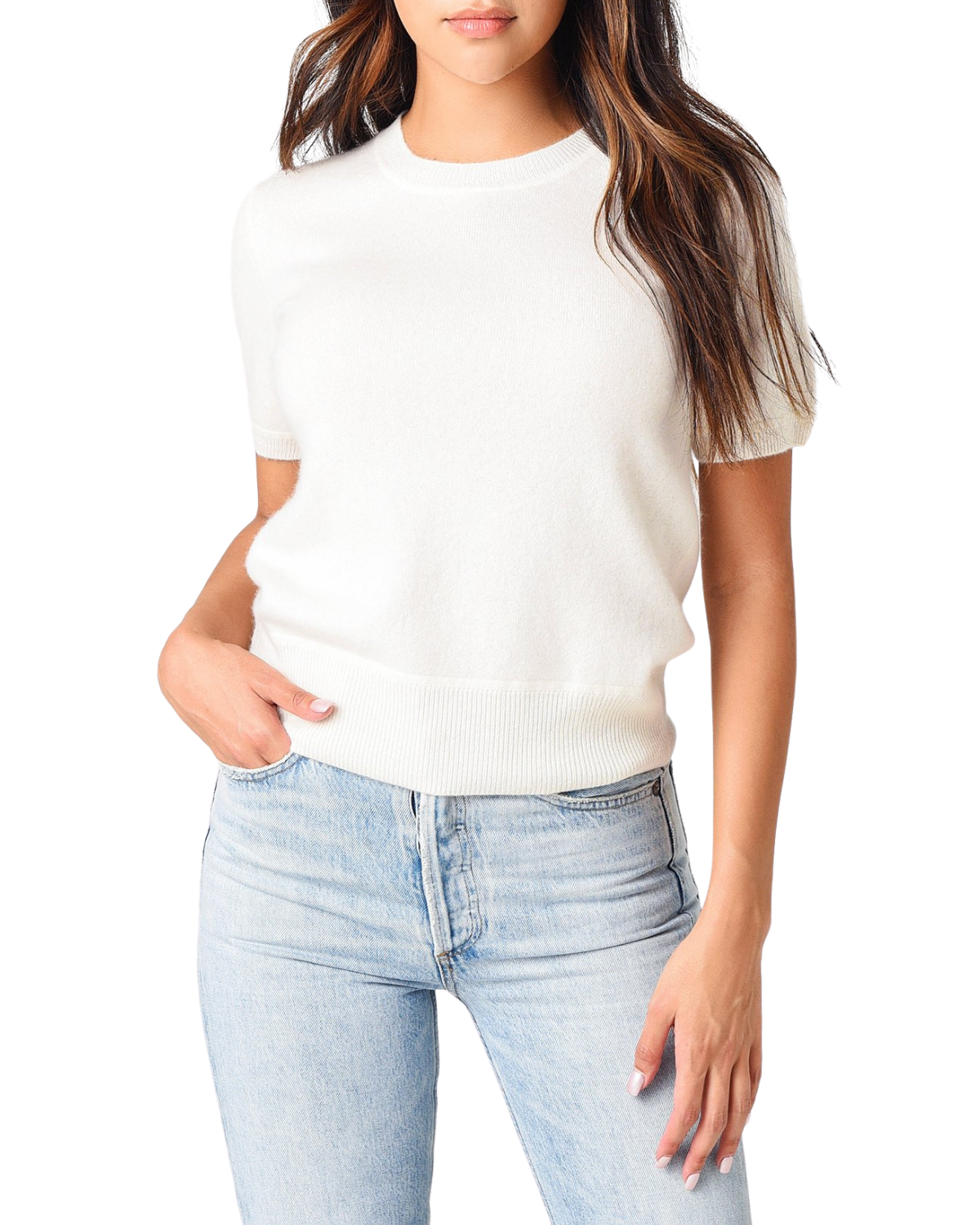Short Sleeve Cashmere Crop Pullover Sweater - White