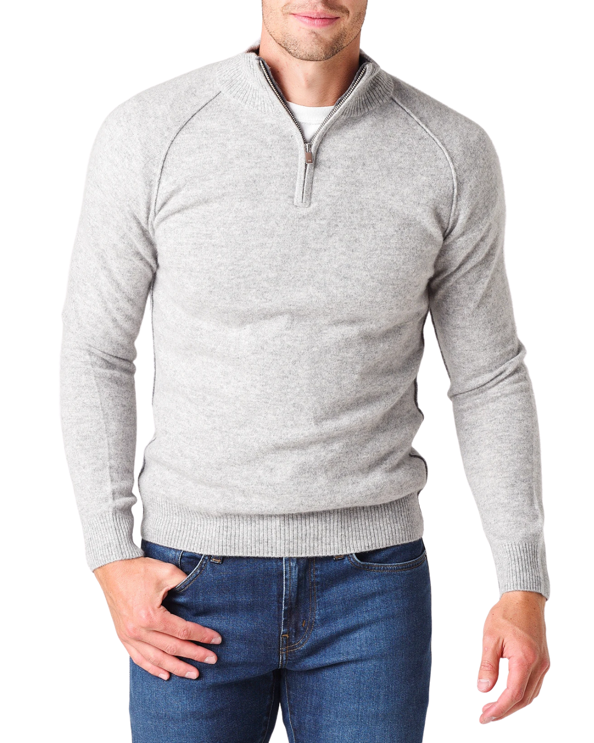 Quarter Zip Cashmere Raglan - Cement/White